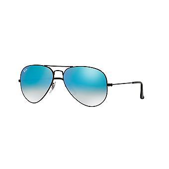 راي بان الطيار RB3025 002/4O لامعة الأسود / الأزرق مرآة التدرج النظارات الشمسية