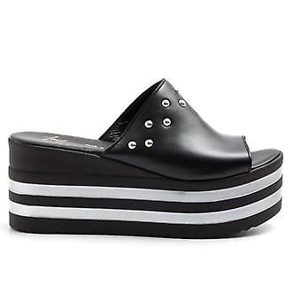 Black Leather Slipper With Studs and Light Wedge