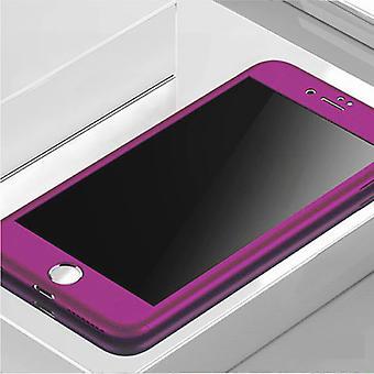 Stuff Certified® iPhone 8 Plus 360 ° Full Cover - Full Body Case Case + Screen Protector Purple