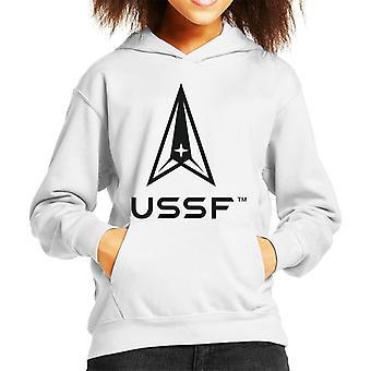 U.S. Space Force Light Logo USSF Dark Text Kid's Hooded Sweatshirt