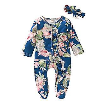 Nyfödda Infant Baby Girl Boy Footed Sleeper Romper, Pannband Kläder, Outfits