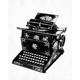Nærbillede af en skrivemaskine plakat Print