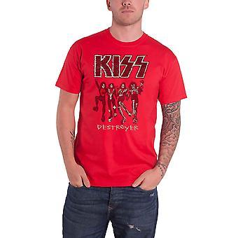Kiss T Shirt Destroyer Sketch Band Logo novo Official Mens Red