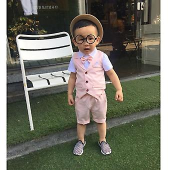 Formal Suits For Baby Single Breasted Short, Shirt & Vest Set