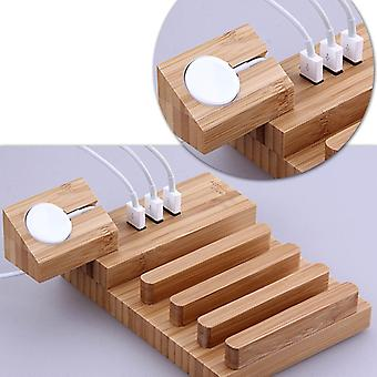 Multi-function Detachable Carbonized Bamboo 3 USB Ports Charging Dock Holders Stand Cradle Bracket, For iPhone, iWatch, iPad, Tablets, Samsung, Huawei
