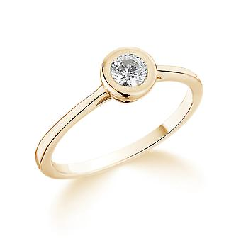 9K Yellow Gold Classic Rub Over Setting 0.25Ct Certified Solitaire Diamond Engagement Ring