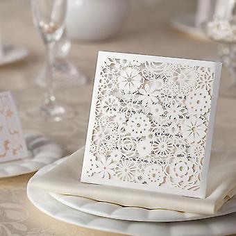 10 بتلات بيضاء مع الذهب الخفيف وميض الليزر قطع دعوات الزفاف الآن مع الأختام مغلف الذهب