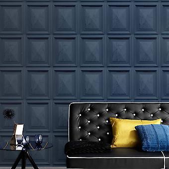 Imitationer Marmor Trä Panel Effekt Bakgrund Mörkblå Erismann 6319-44