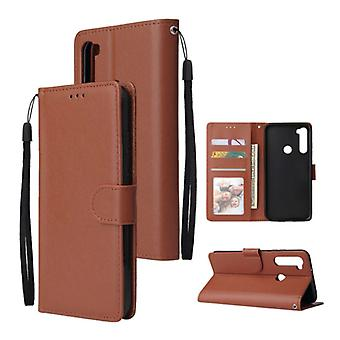 Stuff Certified® Xiaomi Redmi 9C Leather Flip Case Wallet - PU Leather Wallet Cover Cas Case Brown