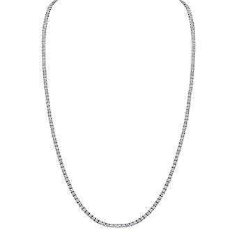 "14K hvidguld 18"" Diamond Tennis halskæde 12,18 CT."
