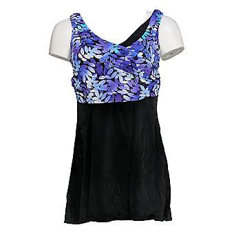 Fit 4 U Swimsuit Wrap Swim Dress Floral Purple A376261