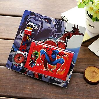 Neue Cartoon Brieftasche Uhr Set Spiderman Mickey Minnie Studenten Geburtstag Quarz