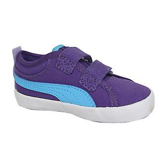 Puma 2 Straps Kids Lo Trainers Purple Blue Hook and Loop 356014 03 B32D