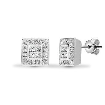 Jewelco Londen dames Solid 18ct wit goud wrijven over set prinses G SI1 0.5 Ct Diamond venster Stud Earrings
