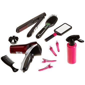 Theo klein 5873 braun satin 7 mega hairstyling set with hairbrush, hairdryer and hair straightener,