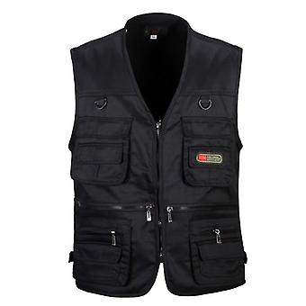 Male Vest, Cotton Sleeveless Jackets, Casual Fishing Vests With Many Pockets,