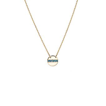 """14K Yellow Gold Disc Pendant Necklace, 16"""" To 18"""" Adjustable"""