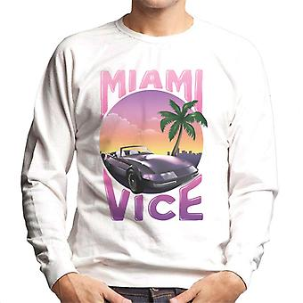 Miami Vice Car And Palm Tree Men's Sweatshirt