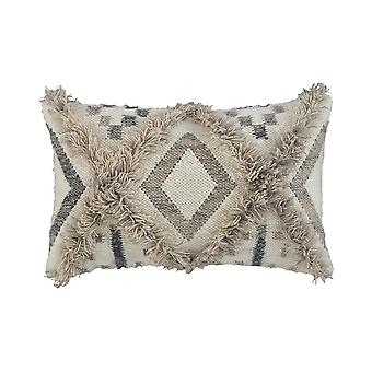 22 X 14 Woolen Face Accent Pillow With Fringe Details, Set Of 4, Cream