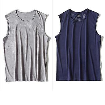 Men Ice Silk Tank Tops Underwear Mens Undershirt Transparent Shirts Male