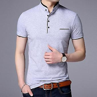 Men Casual Cotton Solid Color Poloshirt, Breathable Tee, Tennis Clothes
