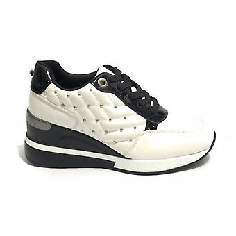Women's Sneaker Running With Wedge Gold&gold In White/ Black Faux Leather D20gg26