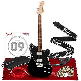 Squier paranormal toronado elgitarr av fender, laurel fingerboard, svart, med fender phoenix capo, fender running logo strap, ps60871