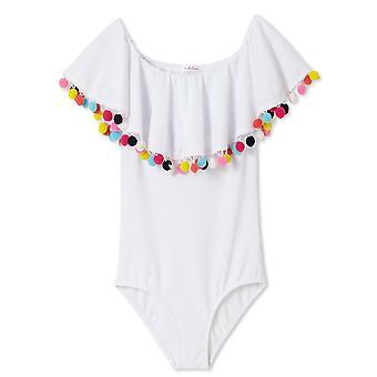 Bílé zahalené plavky s vícebarevnými pom poms