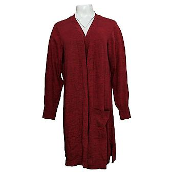Denim & Co. Women's Sweater Marled Long-Sleeve Open Cardigan Red A381047