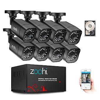 Cctv kamera system 1080p sikkerhet kamera dvr kit / video overvåkingssystem hdd