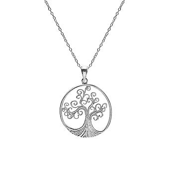 Sterling Silver Pendant Necklace - Celtic Spiral Tree Of Life