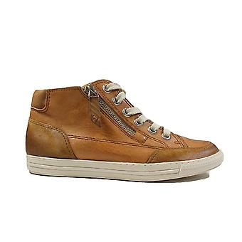 Paul Green 4088-03 Tan Leather Womens Zip/Lace Up Boot Trainers