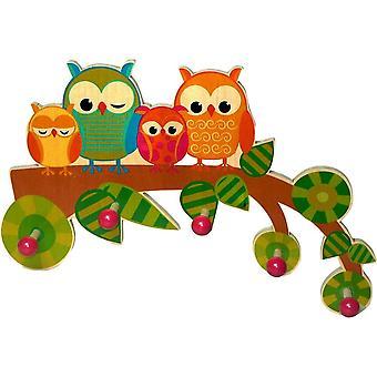 Hess Holzspielzeug 30316 - Garderobe aus Holz, Serie Eule, mit 5 Haken, fr Kinder, ca. 37 x 25 x 6,5