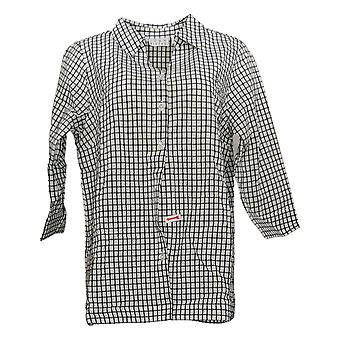 Joan Rivers Women's Top Textured Button Front Shirt w/ Button Black A390077