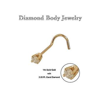 14K solid gold nose ring screw with diamond end stud 20g
