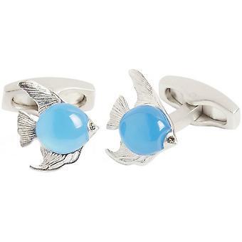 Simon Carter Darwin Angel Fish Cufflinks - Plata/Azul