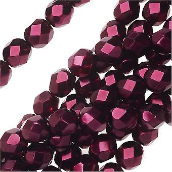 Tšekkiläinen tuli kiillotettu lasi helmiä 6mm pyöreä full pearlized - Garnet (25)