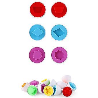 6 Stücke Ei Spielzeug Puzzle Spiel Säugling pädagogische Spielzeug erkennen Farbe Form Kinder Kleinkind passendes Spielzeug