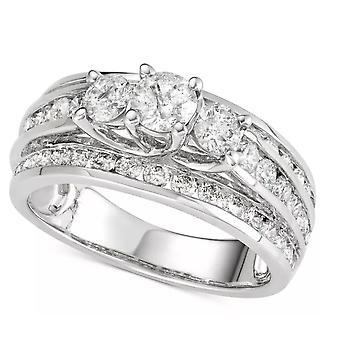 TJC 14K Hvidguld Hvid Diamant I1-I2/ G-H Designer Ring Gave til hende 2.01ct.