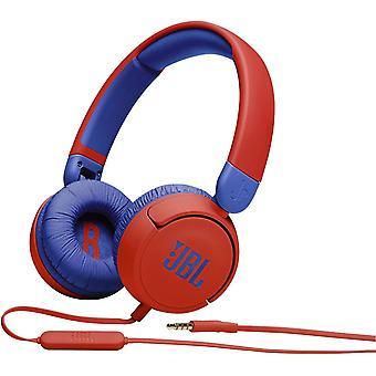 JBL JR310 - Słuchawki przewodowe z mikrofonem dla dzieci - Lekkie, wygodne i składane - Z głośnością ograniczoną do 86 dB, czerwony niebieski