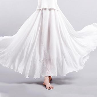 Hochwertige Damen Baumwolle Plissiert Hitched Hem Langer Maxi Rock Casual Style