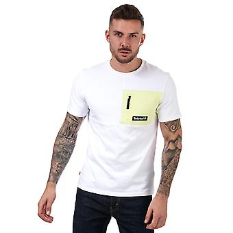 Menns Timberland Utendørs Arkiv Mix Media T-skjorte i Hvitt