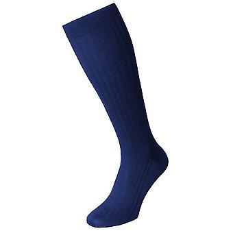 Pantherella Danvers coton Lisle sur les chaussettes de veau - bleu outremer