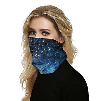 (Blue Space) Full Function Face Mask Neck Tube Cycling Snood Scarf Bandana