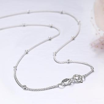 Slim Thin Pure Sterling Beads Curb Chain Choker Necklaces, Women Jewelry(40cm)