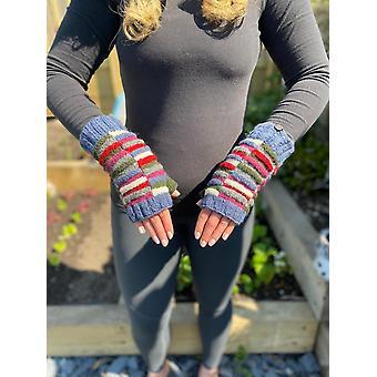 Hand Knitted Woolen Block Stripe Wrist Warmers