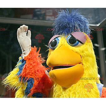 Mascotte REDBROKOLY.COM d'oiseau orange jaune et bleu