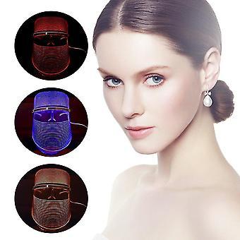 LED Photon Light Therapy Facial 3 Color Photonic Skin Care Remove Wmarkle| Maska LED (kolor przezroczysty)