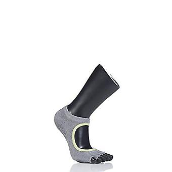 Toesox Half Toe Plie Dance Inspired Grip Socks With Leather Pad - Heather Grey/Lime