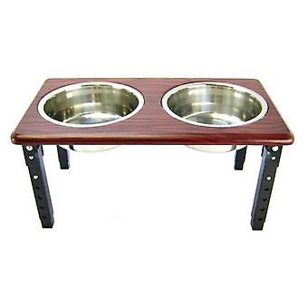 """Spot Posture Pro Double Diner - Stainless Steel & Cherry Wood - 2 Quart (8""""-12"""" Adjustable Height)"""